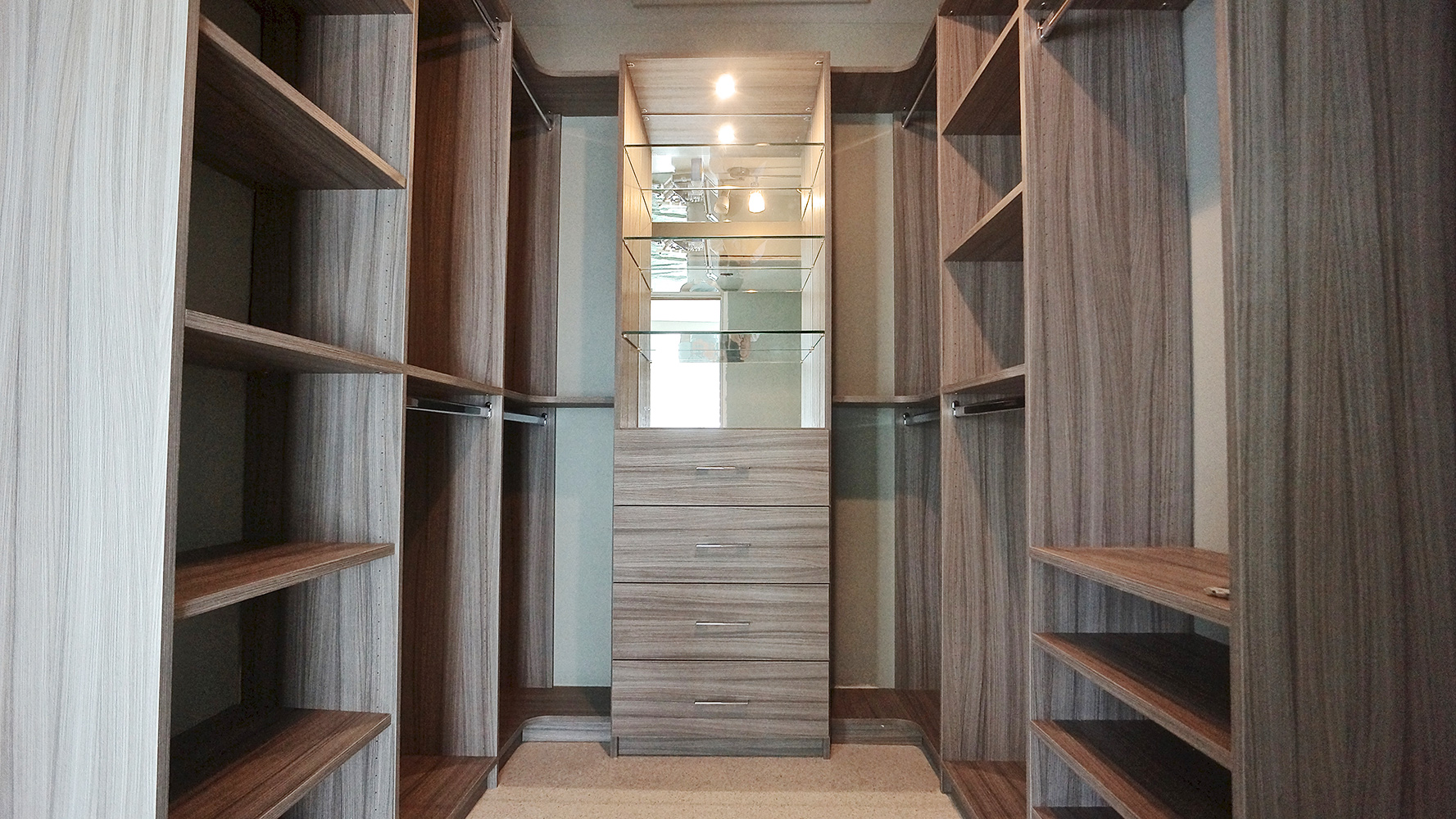 A custom closet designed by Spazio Closet in Miami, Florida
